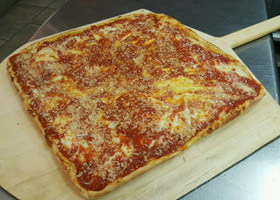 Try Rubino's Pizzeria Grandma Pie Brooklyn Square Pizza!